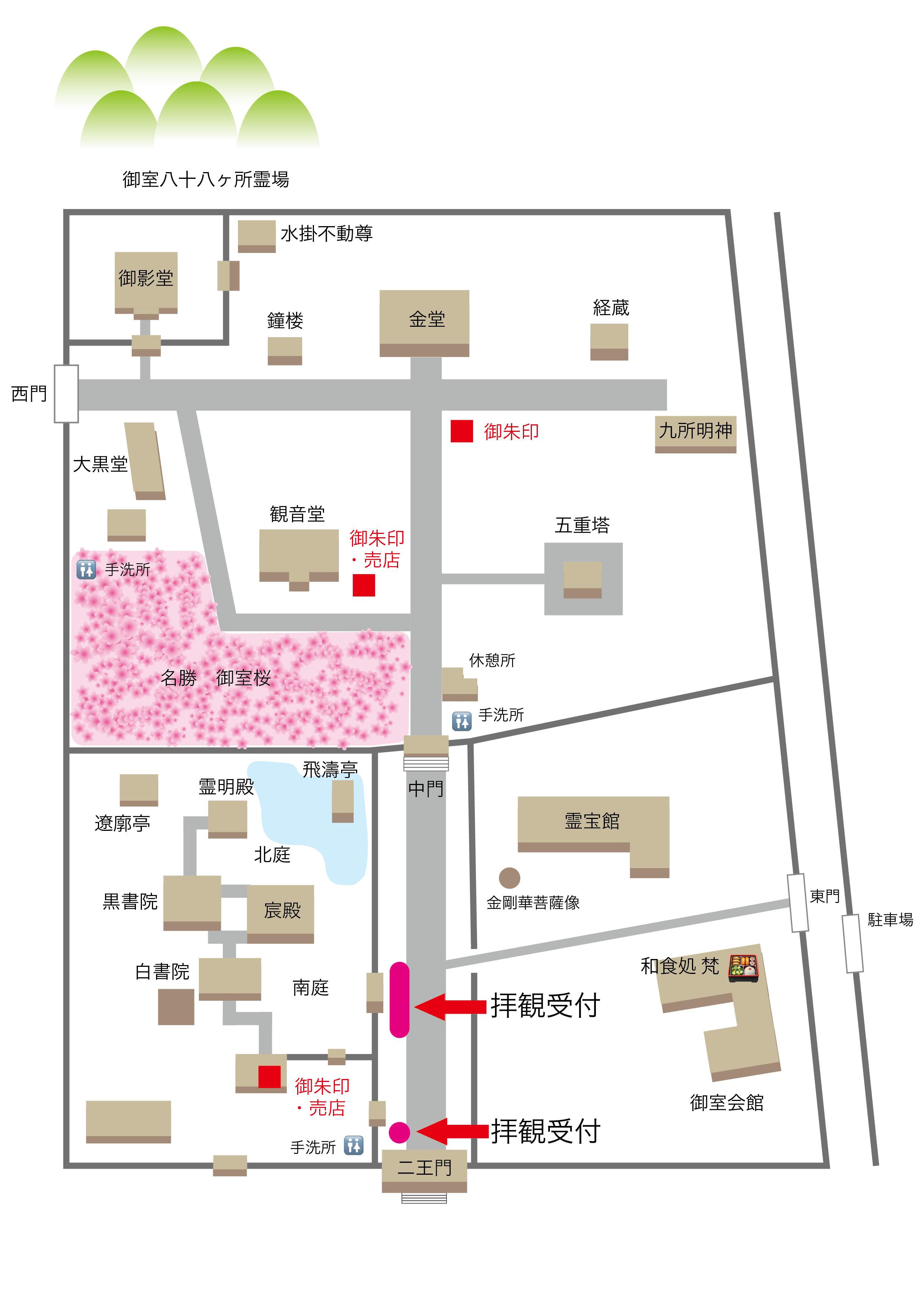 桜チケット売場境内図